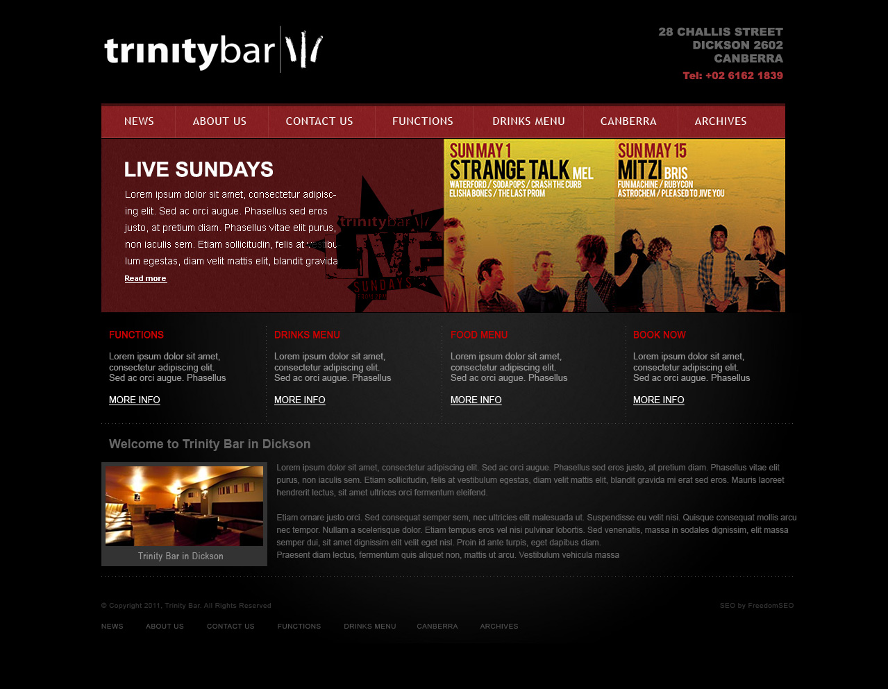 Bar hotel club website design Melbourne