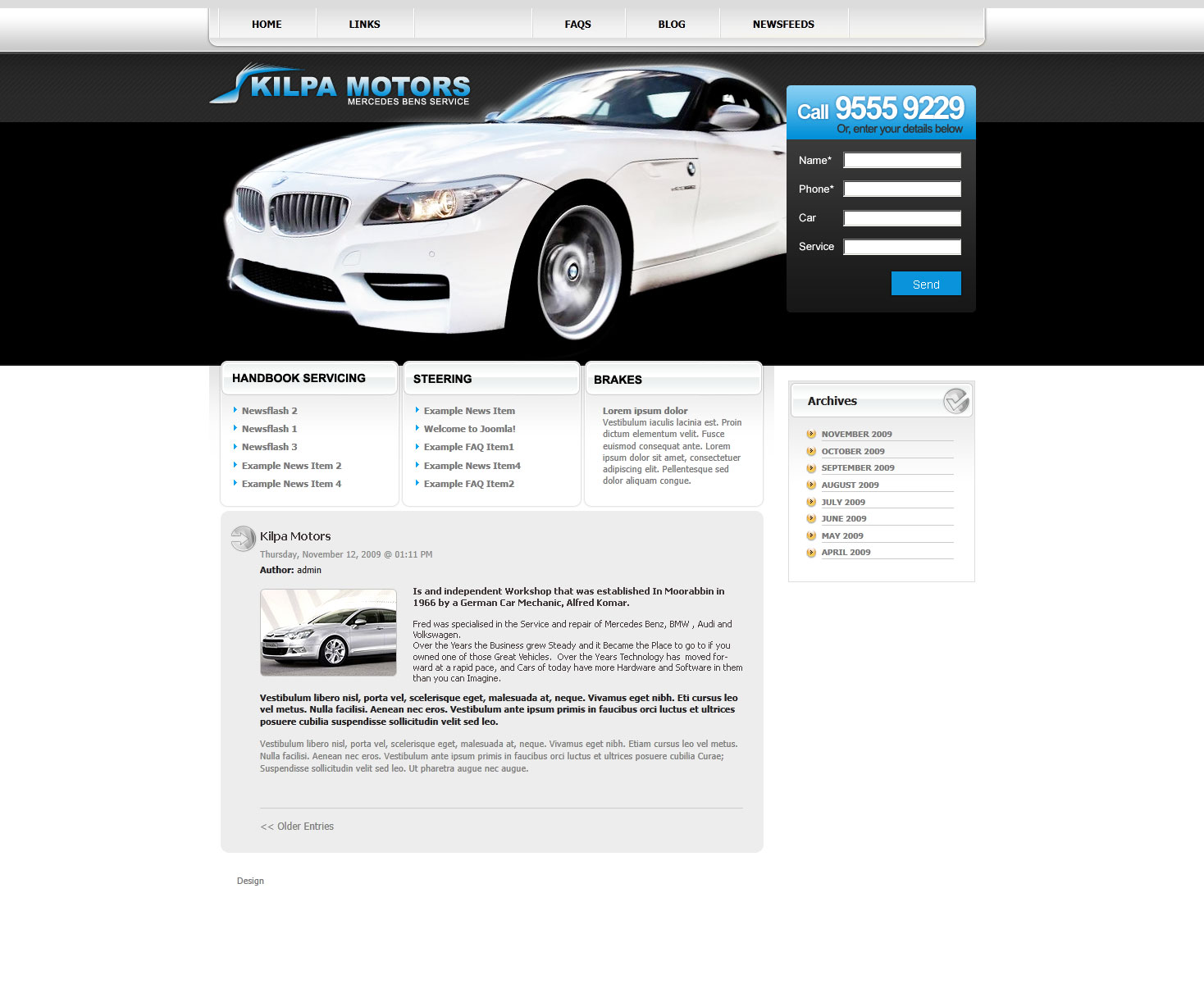 Car services small business web design Melbourne