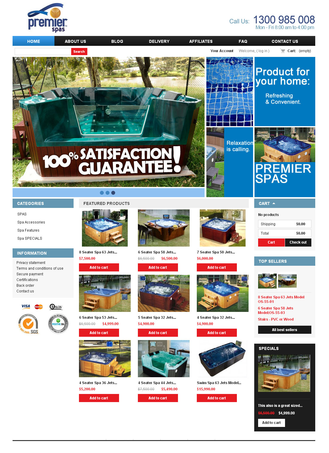 E-commerce outdoor spa website design Melbourne