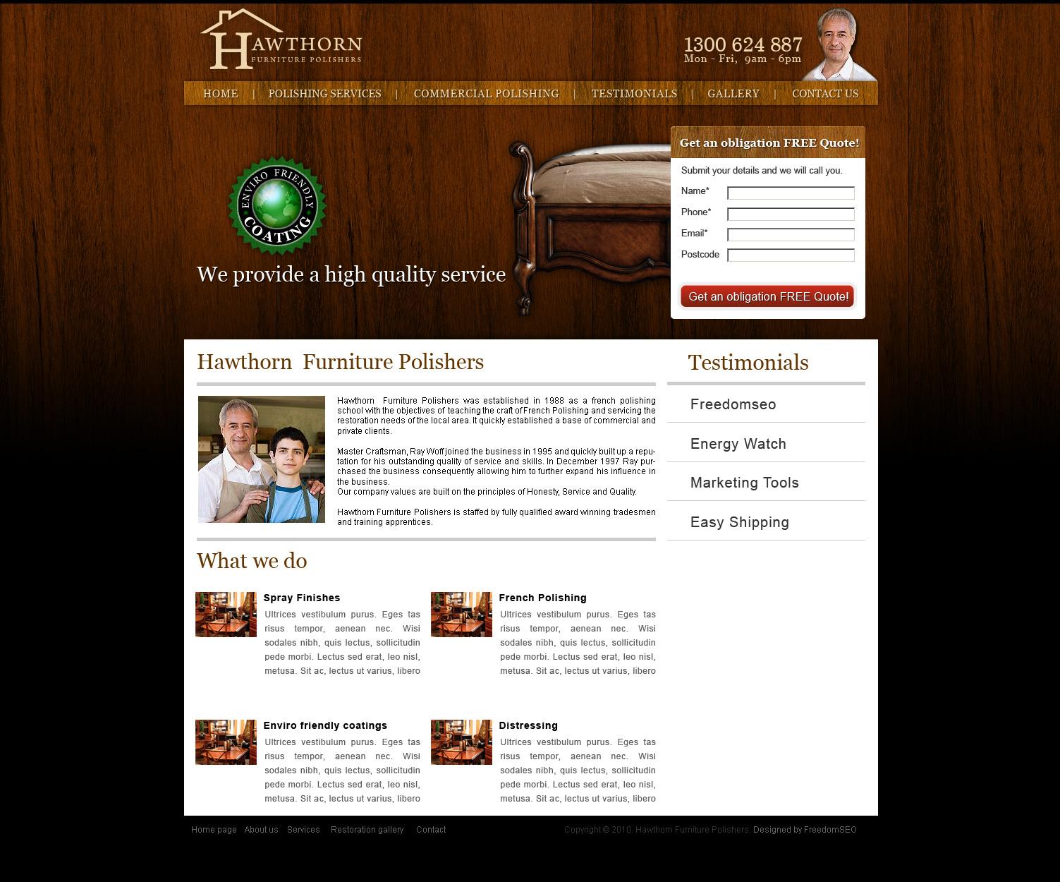 Furniture polishing website design Melbourne