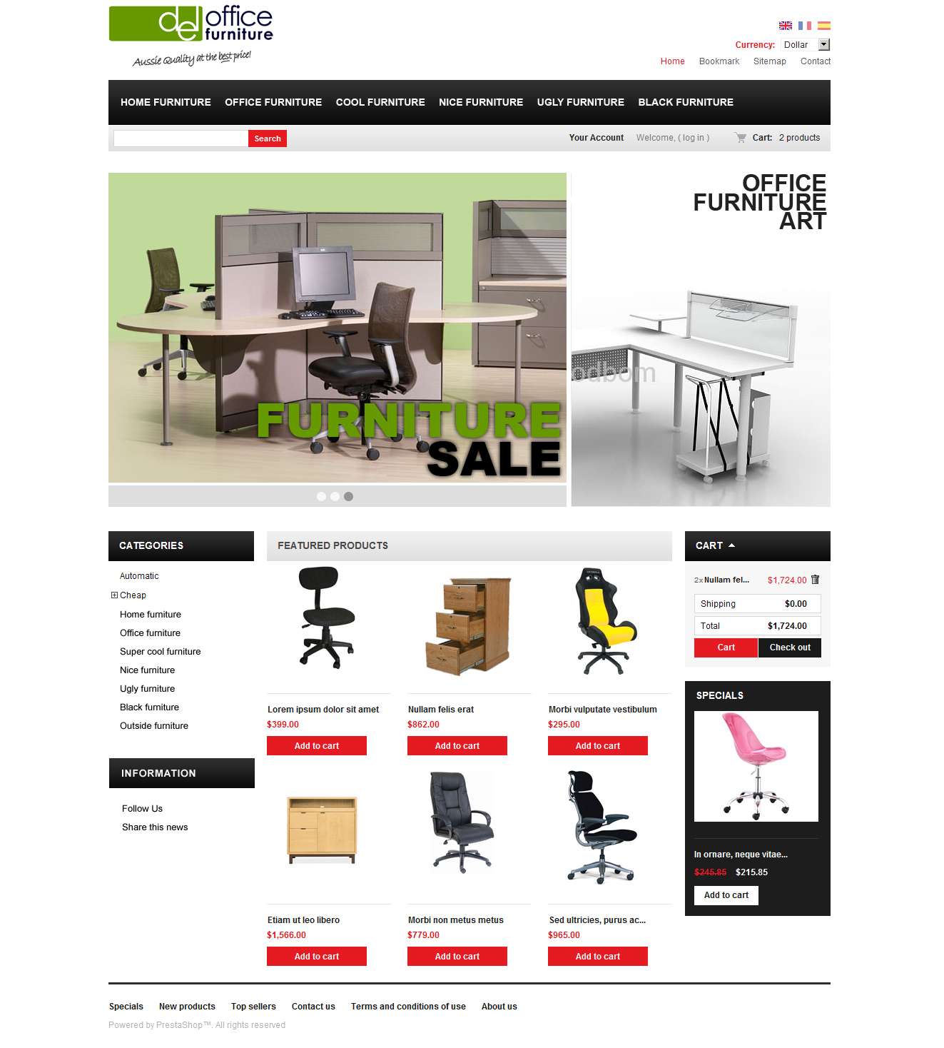 Furniture Web Sites: E-commerce Office Furniture Website Design Melbourne