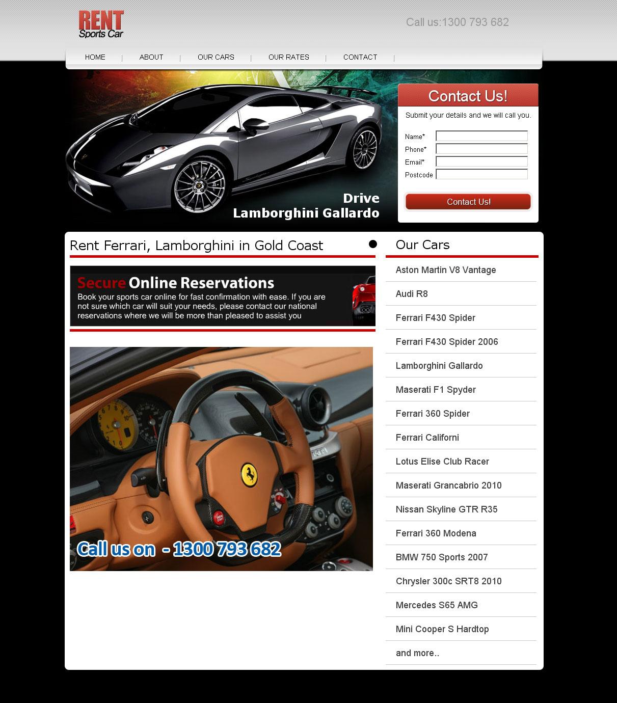 Rent Ferrari website design Melbourne