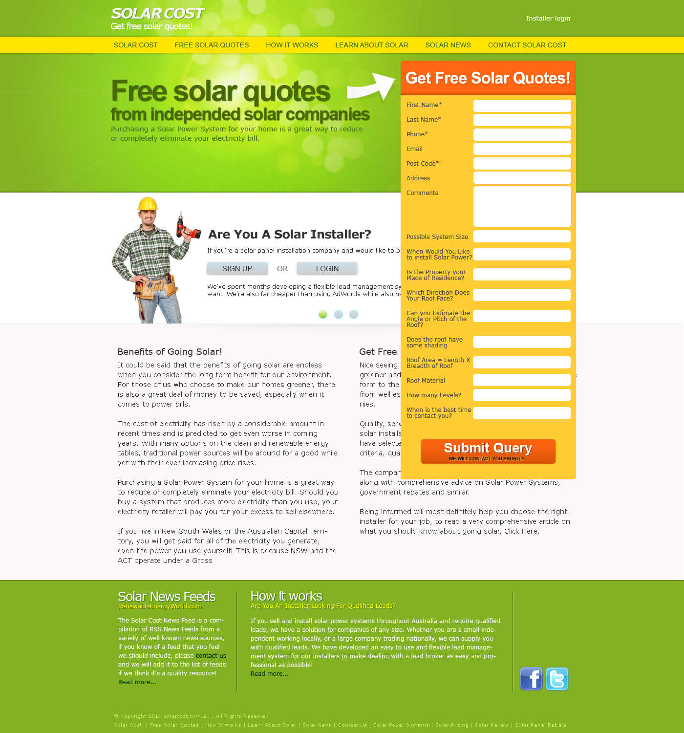 Solar energy panels system website design Melbourme