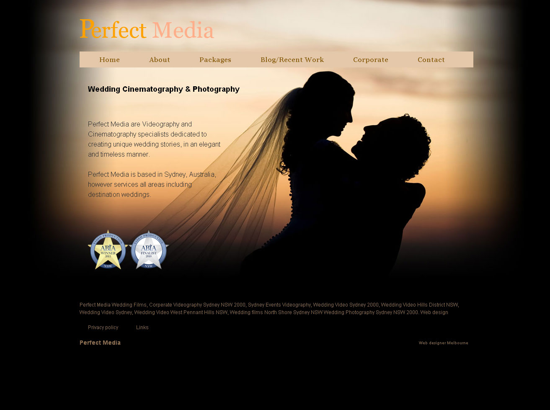 Wedding video services web design Melbourne