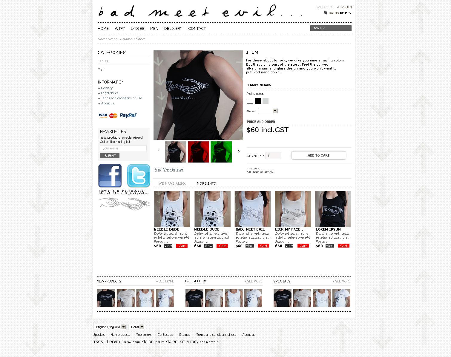E-commerce t-shirt shop website design Melbourne