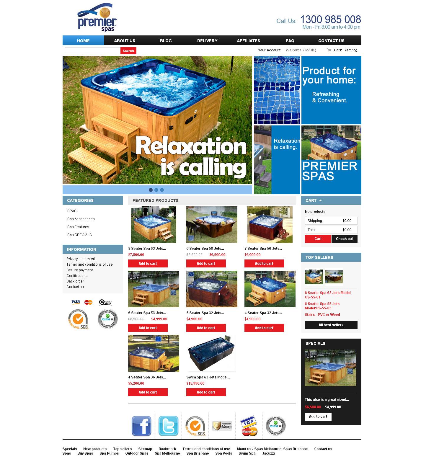 Spas shop website design Melbourne